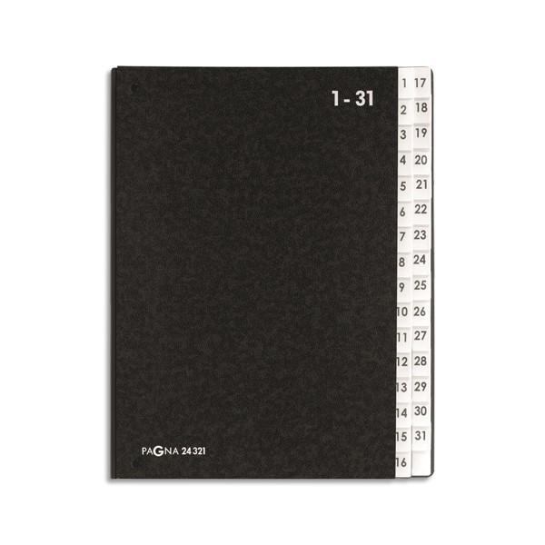 DURABLE Trieur numérique noir int papier recyclé. 31 compartiments (1-31 + 1 neutre). Format 26,5x34cm (photo)