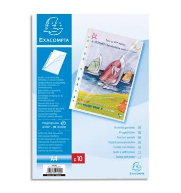 EXACOMPTA Sachet de 10 pochettes perforées A4 PP transparent lisse 6/100. Ouverture en coin toute hauteur