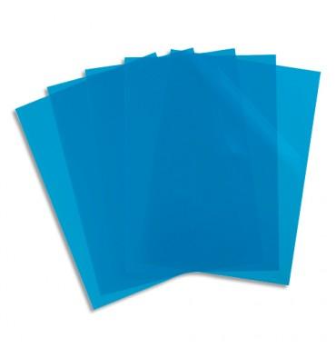 ELBA Sachet 10 pochettes coin PP lisse 12/100e. Coloris bleu