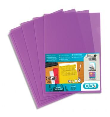 ELBA Sachet 10 pochettes coin polypropylène lisse 12/100e, coloris violet