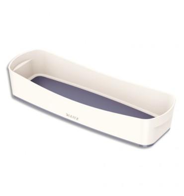 LEITZ Bac de rangement MYBOX long sans couvercle en ABS. Coloris blanc fond gris