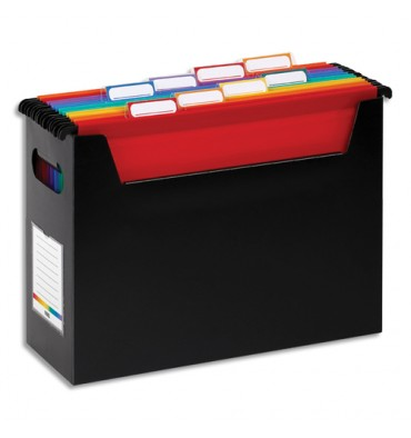 VIQUEL Bac Noir Rainbow pour dossiers suspendus en polypropylène. Livré avec 8 dossiers suspendus couleur