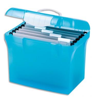 ELBA Valise classement polypropylène bleu translucide cadenassable. Livré avec avec dossiers suspendus