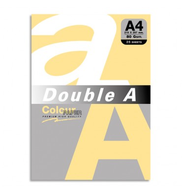 DOUBLE A Paquet de 25 feuilles papier couleur 80g A4. Coloris orange pastel