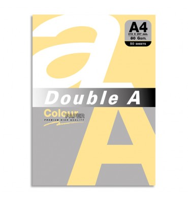 DOUBLE A Paquet de 50 feuilles papier couleur 80g A4. Coloris orange pastel