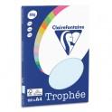 CLAIREFONTAINE Pochette de 100 feuilles papier couleur TROPHEE 80g A4. Coloris bleu pastel
