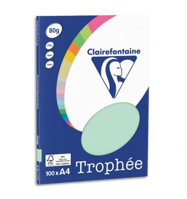 CLAIREFONTAINE Pochette de 100 feuilles papier couleur TROPHEE 80g A4. Coloris vert