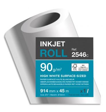 CLAIREFONTAINE Bobine papier blanc CIE164 Surfacé 90g pour traceur 0,914 mm x 45 m. Impression Jet d'encre