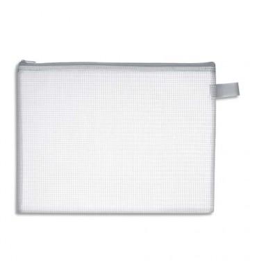 JPC Pochette zippée en PVC renforcé semi-transparente pour le courrier, 29 x 22 cm, épaisseur 0,5 cm
