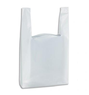 EMBALLAGE Paquet de 500 Sacs bretelles Blancs, en polyéthylène, 50 microns O26 x H45 x S12 cm