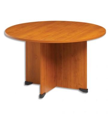 GAUTIER Table de réunion ronde Jazz - Diamètre 120 cm, Hauteur 74 cm coloris aulne/ gris anthracite