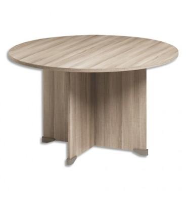 GAUTIER Table de réunion ronde Jazz - Diamètre 120 cm, Hauteur 74 cm coloris Chêne gris foncé