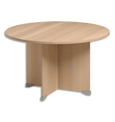 GAUTIER Table de réunion ronde Jazz - Diamètre 120 cm, Hauteur 74 cm coloris Hêtre gris clair