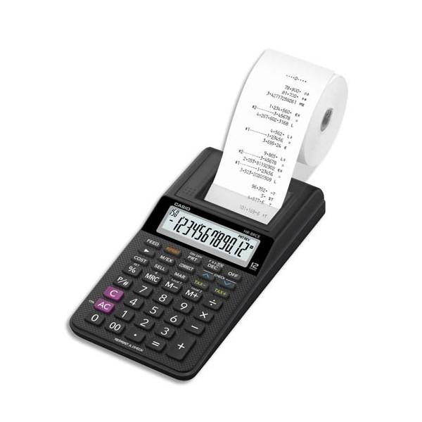 CASIO Calculatrice imprimante portable à 12 chiffres HR-8 RCE, coloris noir
