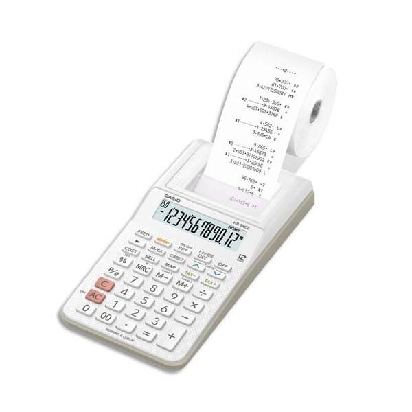 CASIO Calculatrice imprimante portable à 12 chiffres HR-8 RCE, coloris blanc