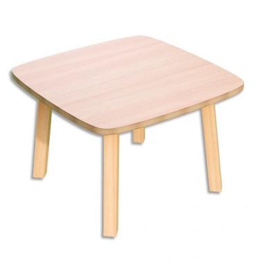 PAPERFLOW Table basse Woody en MDF replaqué hêtre, plateau 60 x 60 cm, piètement en bois massif