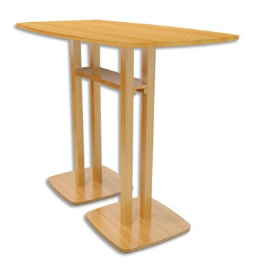 PAPERFLOW Table de réunion debout Woody en MDF replaqué hêtre - Dimensions : L150 x H110 x P75 cm