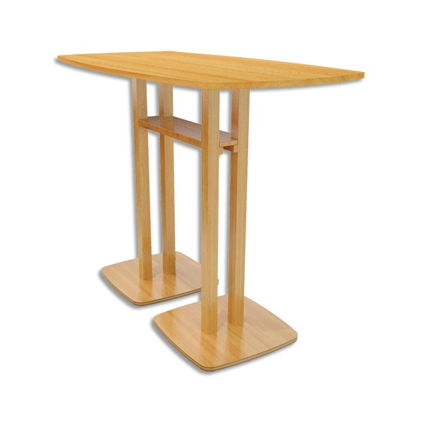 PAPERFLOW Table de réunion debout Woody en MDF replaqué hêtre - Dimensions : L150 x H110 x P75 cm (photo)
