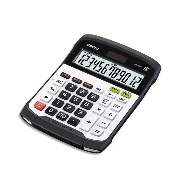 CASIO Calculatrice de bureau à 12 chiffres, étanche à l'eau et à la poussière WD-320MT, coloris noir et blanc