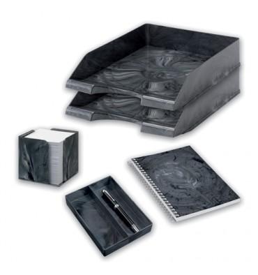 JALEMA Set de bureau aspect marbre Anthracite : 2 corbeilles à courrier, 1 mémo cube, 1 plumier, 1 cahier