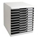 EXACOMPTA Module de classement Modulo Gris lumière Noir 10 tiroirs en PS, format A4+- 28,8 x 32 x 35 cm