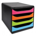 EXACOMPTA Module de classement Big-Box Noir / Arlequin - 4 tiroirs, en polystyrène format A4+ - 27,8 x 26,7 x 34,7 cm