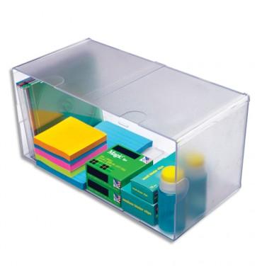 DEFLECTO Cube Double Transparent en polystyrène, système modulable - 30,5 x 15,3 x 15,3 cm