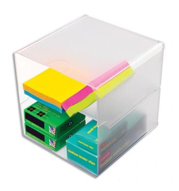 DEFLECTO Cube à séparation horizontale Transparent polystyrène, système modulable, carré 15,3 cm