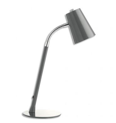 UNILUX Lampe à Led Flexio gris métal - Tête 13,3 cm, Hauteur 40 cm et Socle D15,4 cm