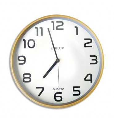 UNILUX Horloge Baltic Hêtre, structure bois, cadran plastique, mécanisme à quartz - Diamètre 30,5 cm