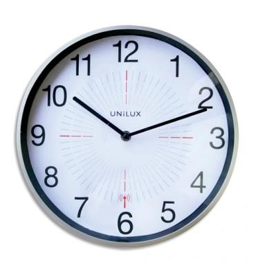 UNILUX Horloge Outdoor Gris métal, en plastique, radio-pilotée - Diamètre 35,5 cm