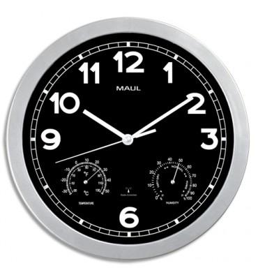 MAUL Horloge murale MaulDrive fond Noire cadran argenté, thermomètre hygromètre, 1 pile AA fournie D30 cm