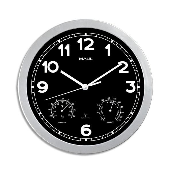 maul horloge murale mauldrive fond noire cadran argent diam tre de 30 cm. Black Bedroom Furniture Sets. Home Design Ideas
