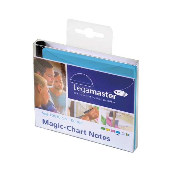 LEGAMASTER Paquet de 100 Notes Magic Chart Bleu, électrostatiques, 10 x 10 cm + 1 marqueu