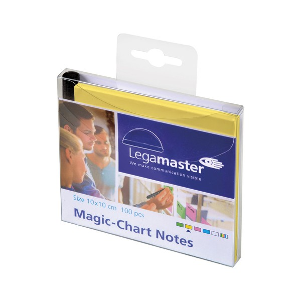 LEGAMASTER Paquet de 100 Notes Magic Chart Jaune, électrostatiques, format : 10 x 10 cm +