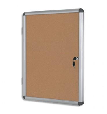 BI-OFFICE Vitrine d'intérieur en aluminium, surface en liège - 98,1 x 72 cm