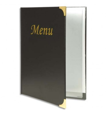 SECURIT Protège-menus Basic, 4 inserts fixes pour 8 pages format A4, coloris noir