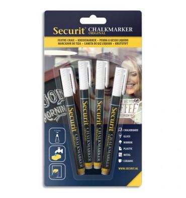 SECURIT Securit Lot de 4 feutre-craie à encre liquide, trait 1-2 mm, coloris blanc