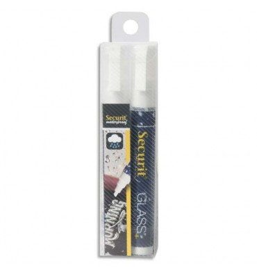 SECURIT Securit Lot de 2 feutre-craie Waterproof, trait 2-6 mm, coloris blanc