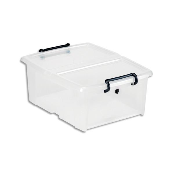 CEP Boîte de rangement SmartBox Strata Transparent, 20L, couvercle clipsé, L46 x H19 x P37 cm (photo)