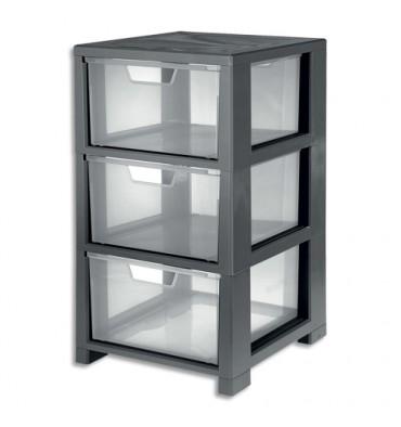 CEP Tour de rangement Gris transparent, 3 tiroirs - L32,5 x H59,5 x P35 cm