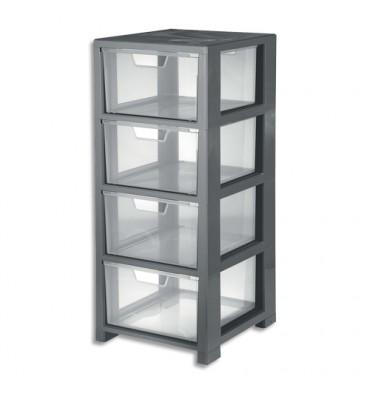 CEP Tour de rangement Gris transparent, 4 tiroirs - L32,5 x H77,6 x P35 cm