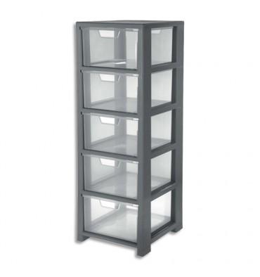 CEP Tour de rangement Gris transparent, 5 tiroirs - L32,5 x H95,6 x P35 cm