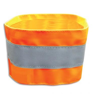 VISO Brassard de sécurité à bandes réfléchissantes orange en PVC, ajustable par scratch L48 x H7,5 cm