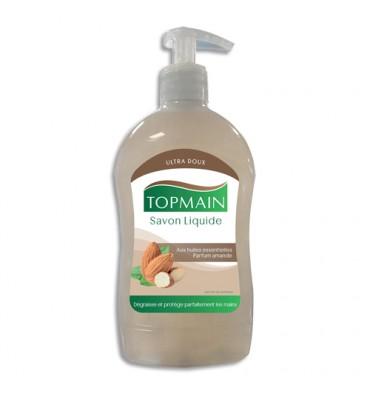 TOPMAIN Flacon pompe 500 ml Savon liquide doux aux huiles essentielles pour mains et corps parfum Amandes
