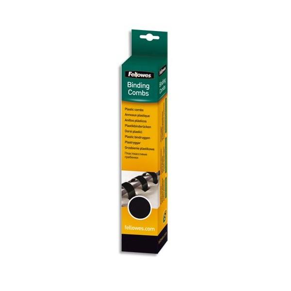 FELLOWES Boîte de 25 reliures plastique 8 mm noir