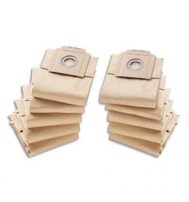 KARCHER Lot de 10 Sacs en papier, 2 couches, pour aspirateur 10/1