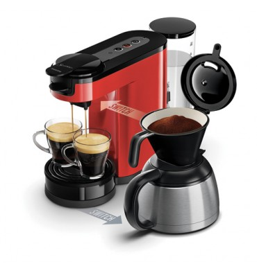SENSEO Machine à café Switch Rouge, 1450W, capacité 1L, 2 à 7 tasses, L15 x H27 x P40 cm