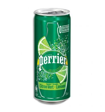 PERRIER Canette d'eau pétillante 33 cl minérale arôme Citron vert