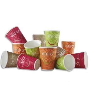 HUHTAMAKI Sachet de 30 gobelets DW9 Enjoy 20cl 4 coloris boissons chaudes en carton - H8,8 cm, Diam. 8 cm